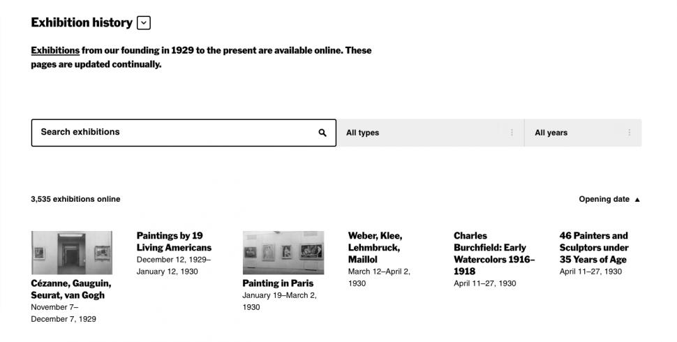 Sanat tarihi araştırmaları için yeni bir arşiv: MoMA Exhibition History